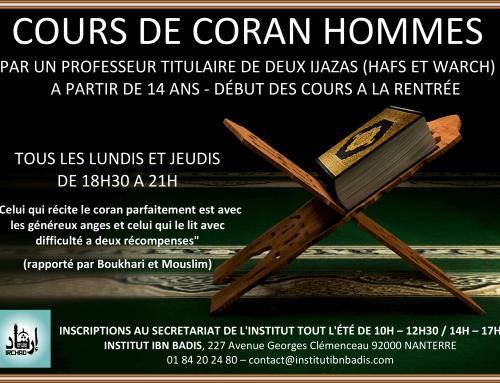 Cours de Coran hommes