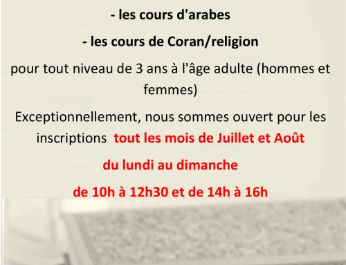 Inscriptions cours d'arabe et de religion (enfants et adultes) tout cet été