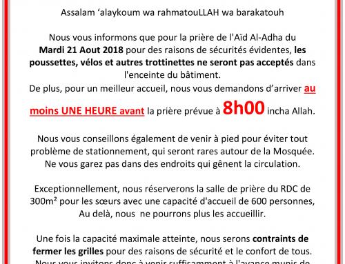 Prière de l'Aïd Al-Adha : Mardi 21 Août à 8h00