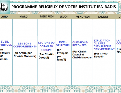 Programme Religieux de votre Institut