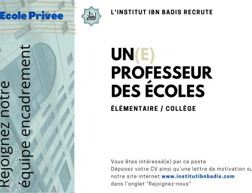 PROFESSEUR(E) DES ECOLES