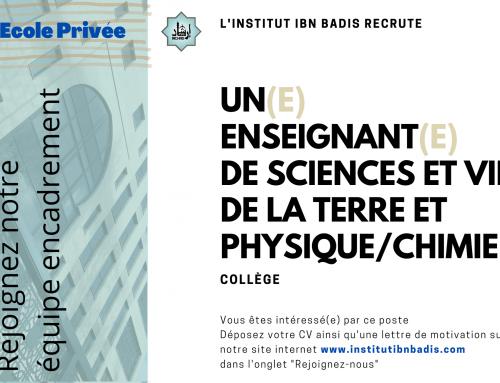 ENSEIGNANT(E) SCIENCES ET VIE DE LA TERRE & PHYSIQUE/CHIME (collège)