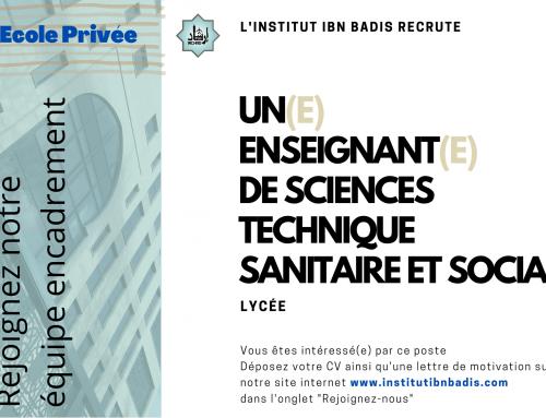 ENSEIGNANT(E) ST2S Sciences et Techniques Sanitaires et Sociales (lycée)
